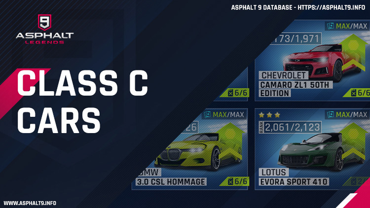 Class C Car List Asphalt 9 Legends Database